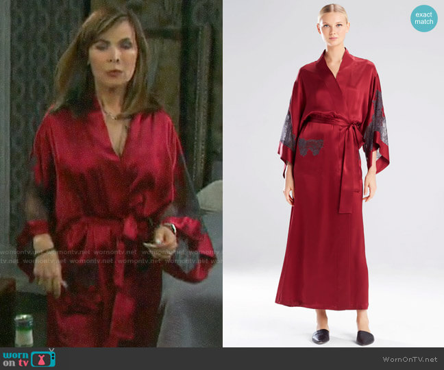 Josie Natori Lolita Long Robe with Lace worn by Kate Roberts (Lauren Koslow) on Days of our Lives