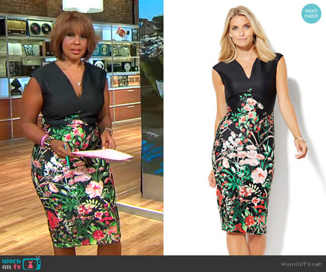Midi Scuba Sheath Dress in Floral by New York & Company worn by Gayle King  on CBS This Morning