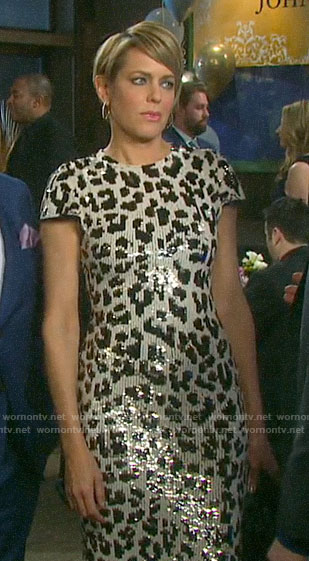 Nicole's sequin leopard dress on Days of our Lives