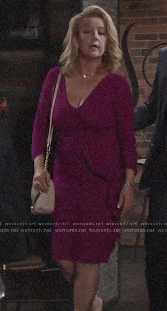 Nikki's magenta ruffled dress on The Young and the Restless