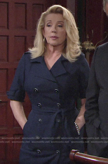 Nikki's navy double-breasted dress on The Young and the Restless