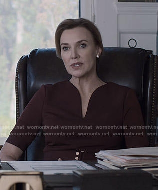 Nora's burgundy belted dress on 13 Reasons Why