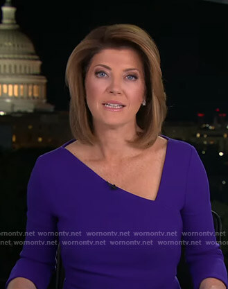 Norah's blue asymmetric v-neck dress on CBS Evening News