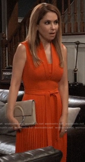 Olivia's orange pleated dress on General Hospital