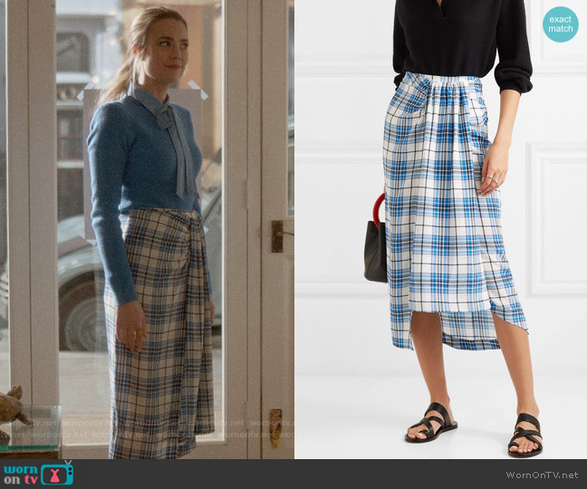 Closet London Siven Checked Silk Midi Skirt worn by Ainsley Howard (Rebecca Rittenhouse) on Four Weddings & a Funeral