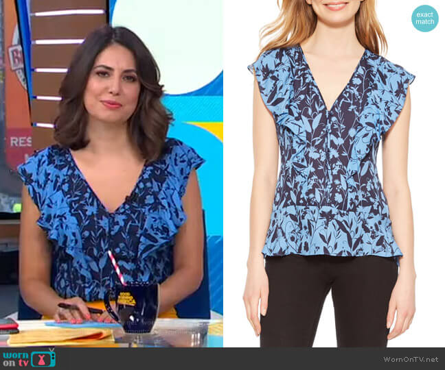 Kata Blouse by Parker worn by Cecilia Vega  on Good Morning America