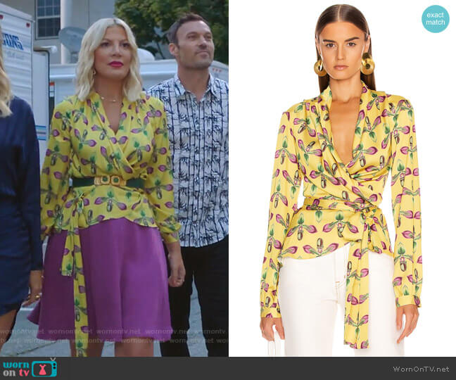 Floral Print Wrap Top by Patbo worn by Tori Spelling  on BH90210