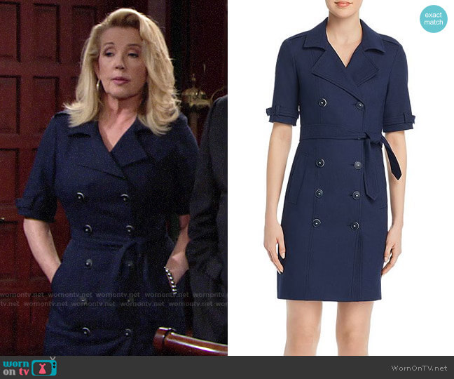 Paule Ka Textured Double-Breasted Trench-Style Dress worn by Nikki Reed Newman (Melody Thomas-Scott) on The Young & the Restless
