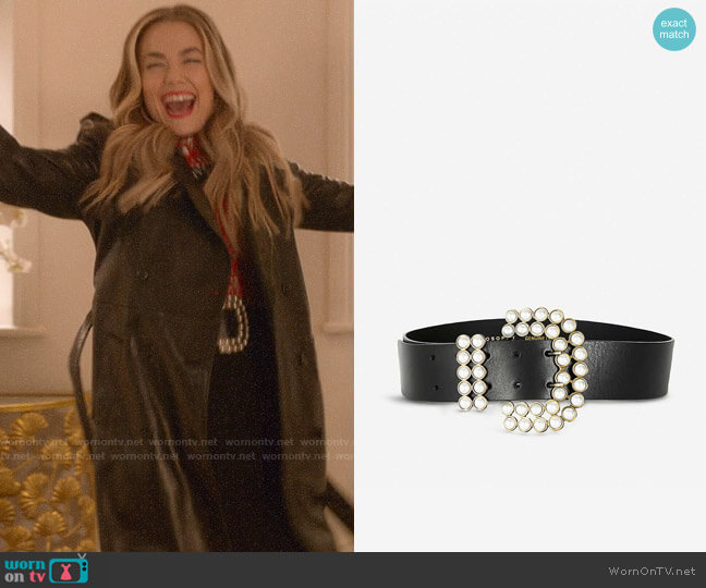 Philosophy Di Lorenzo Serafini Faux pearl-embellished leather belt worn by Ainsley Howard (Rebecca Rittenhouse) on Four Weddings & a Funeral