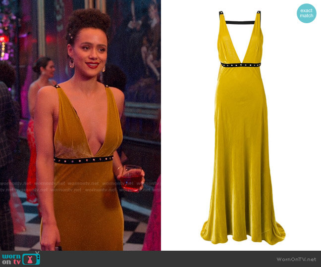 Philosophy Di Lorenzo Serafini Velvet Evening Gown by Philosophy worn by Maya (Nathalie Emmanuel) on Four Weddings & a Funeral