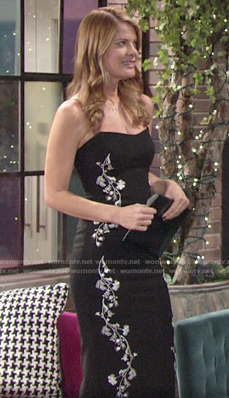 Phyllis's black floral embroidered dress on The Young and the Restless