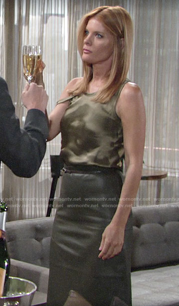 Phyllis's green silky top and leather skirt on The Young and the Restless