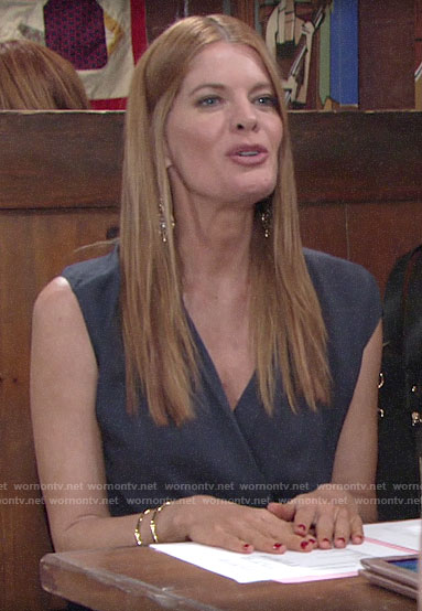Phyllis's navy wrap top on The Young and the Restless