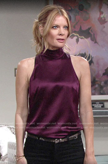 Phyllis's purple sleeveless silky top on The Young and the Restless