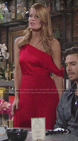 Phyllis's red off-shoulder jumpsuit on The Young and the Restless