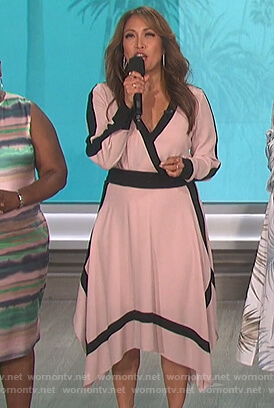 Carrie's pink contrast asymmetric wrap dress on The Talk