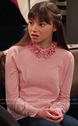 Molly's pink floral embellished collar sweater on No Good Nick