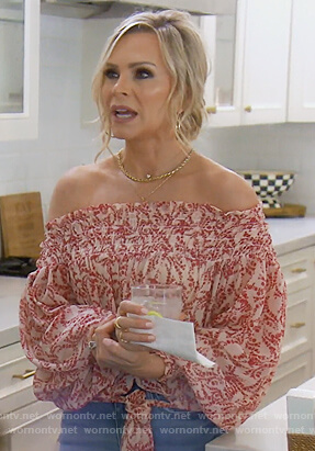 Tamra's floral off shoulder blouse on The Real Housewives of Orange County