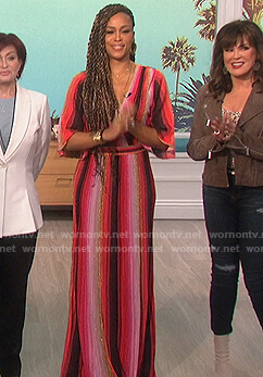 Eve's metallic striped wrap dress on The Talk