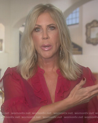 Vicki's pink ruffled blouse on The Real Housewives of Orange County
