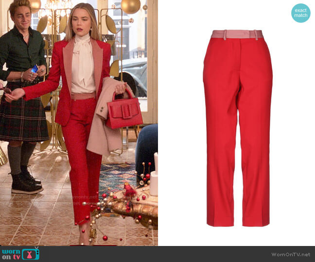 Pinko Two Tone Pants worn by Ainsley Howard (Rebecca Rittenhouse) on Four Weddings & a Funeral