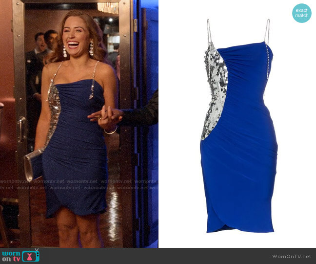 Sequin Panel Strappy Midi Dress Preen by Thornton Bregazzi  worn by Zara (Sophia La Porta) on Four Weddings & a Funeral