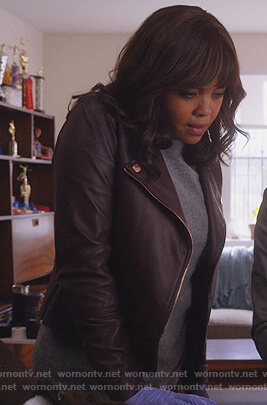 Jasmine's purple leather moto jacket on Instinct