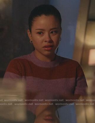Mariana's purple striped sweater on Good Trouble