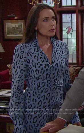 Quinn's blue leopard print zip-front dress on The Bold and the Beautiful
