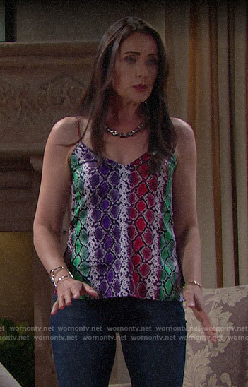 Quinn's multi-colored snake print cami on The Bold and the Beautiful