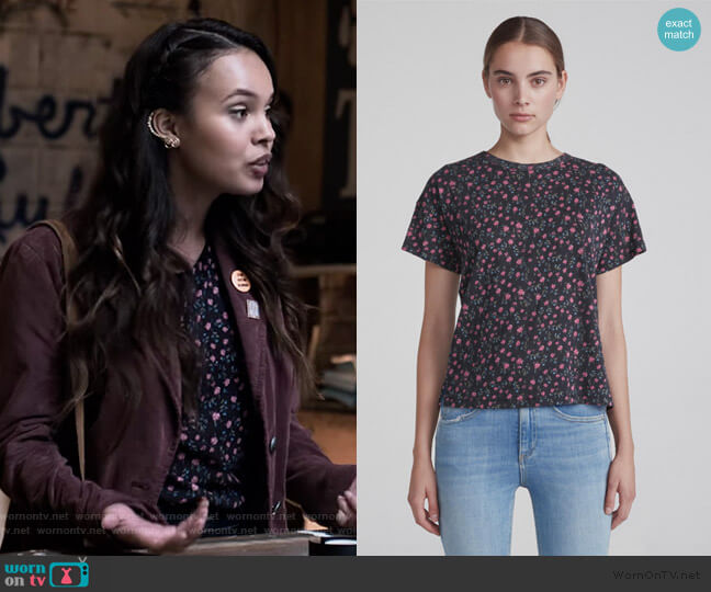 Floral Vintage Crew by Rag and Bone worn by Jessica Davis (Alisha Boe) on 13 Reasons Why