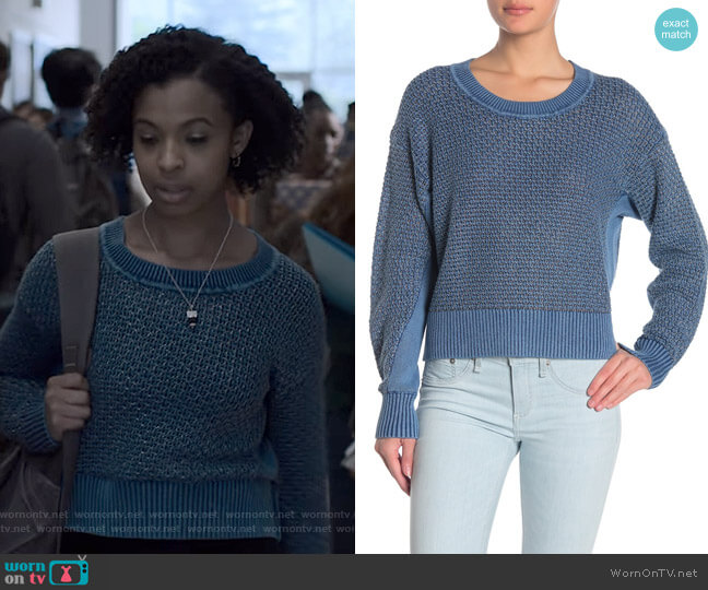 Kyra Metallic Crew Neck Sweater by Rag & Bone worn by Ani (Grace Saif) on 13 Reasons Why