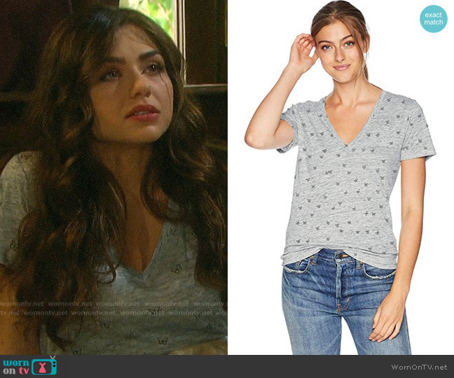 Rails Heather Grey Butterflies Cara Tee worn by Ciara Brady (Victoria Konefal) on Days of our Lives