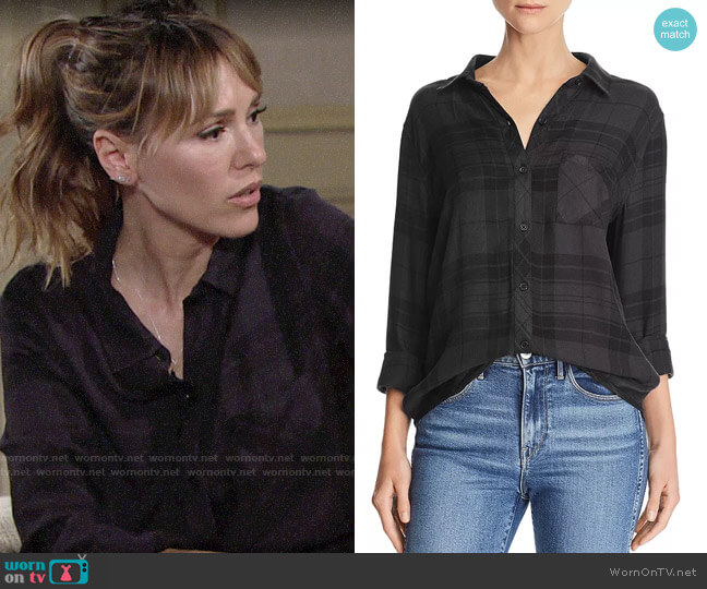 Rails Hunter Shirt in Onyx Charcoal worn by Chloe Mitchell (Elizabeth Hendrickson) on The Young & the Restless
