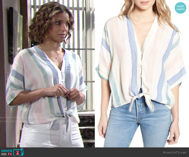 Rails Thea Top in Pastel Watercolor Stripe worn by Elena Dawson (Brytni Sarpy) on The Young & the Restless