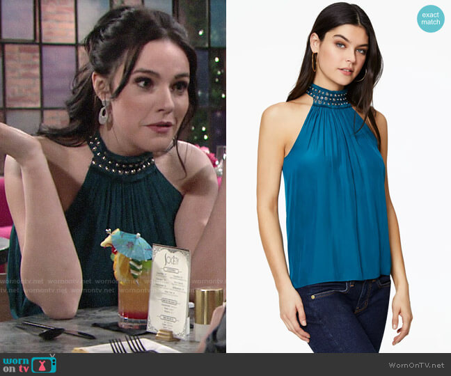 Ramy Brook Cara Top worn by Tessa Porter (Cait Fairbanks) on The Young & the Restless
