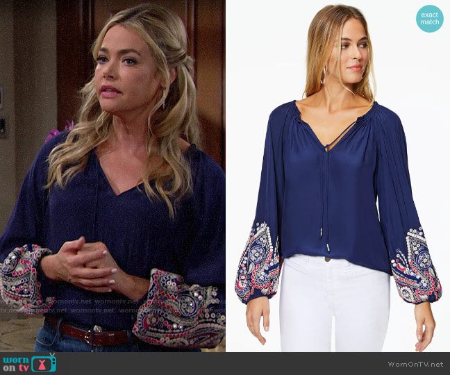 Ramy Brook Shanese Blouse worn by Shauna Fulton (Denise Richards) on The Bold & the Beautiful