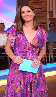 Rebecca's purple printed wrap dress on Good Morning America