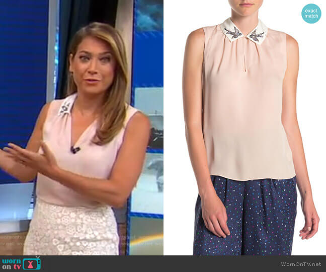 Sparrow Embroidered Collared Silk Blouse by Rebecca Taylor worn by Ginger Zee  on Good Morning America