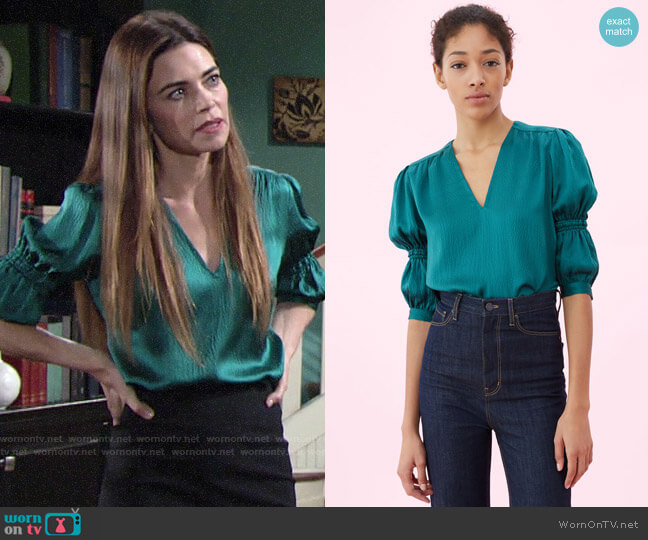 Rebecca Taylor Hammered Silk V-neck Top worn by Victoria Newman (Amelia Heinle) on The Young & the Restless
