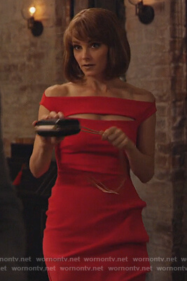 Lizzie's red off shoulder dress on Instinct
