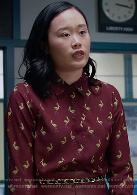 Courtney's burgundy pelican print blouse on 13 Reasons Why