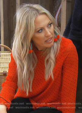 Braunwyn's red polka dot blouse on The Real Housewives of Orange County