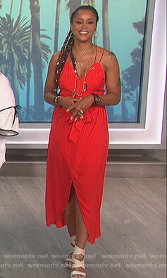 Eve's red wrap dress on The Talk