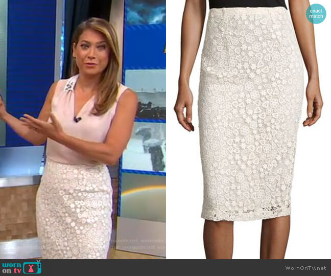 Macrame Pencil Skirt by RED Valentino worn by Ginger Zee  on Good Morning America