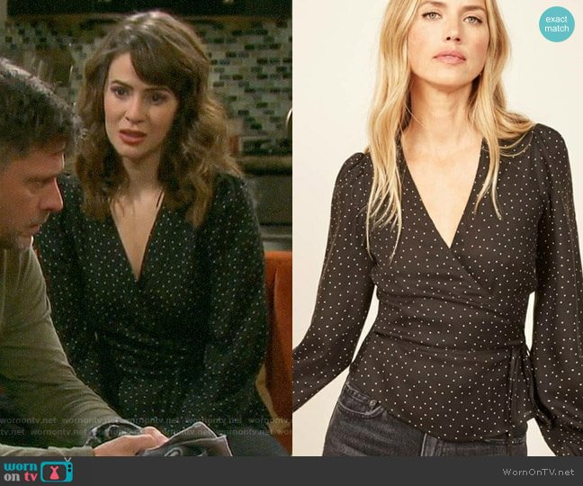 Reformation Alaina Top worn by Sarah Horton (Linsey Godfrey) on Days of our Lives