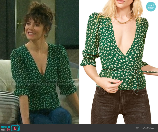 Reformation Emma Top worn by Sarah Horton (Linsey Godfrey) on Days of our Lives