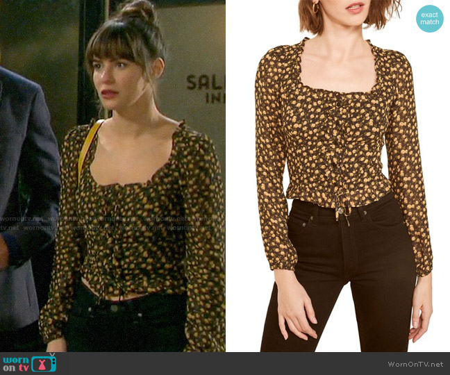 Reformation Italia Top worn by Sarah Horton (Linsey Godfrey) on Days of our Lives