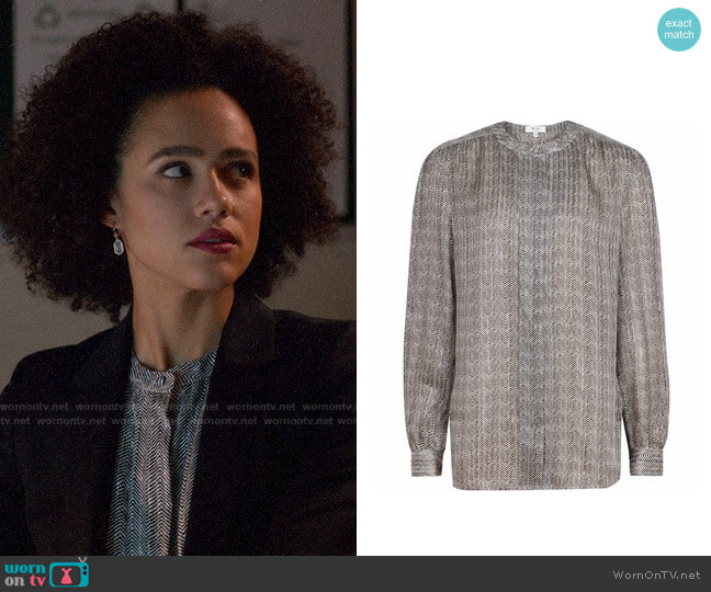 Reiss Hally Multi Silk Chevron Printed Shirt worn by Maya (Nathalie Emmanuel) on Four Weddings & a Funeral