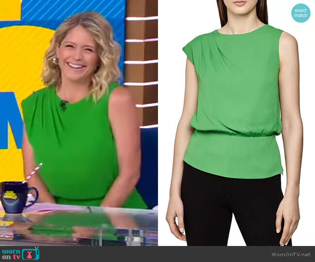 Roberta Back-Cutout Top by Reiss worn by Sara Haines  on Good Morning America